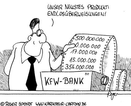 Karikatur, Cartoon: Fehlerhafte Überweisung, © Roger Schmidt