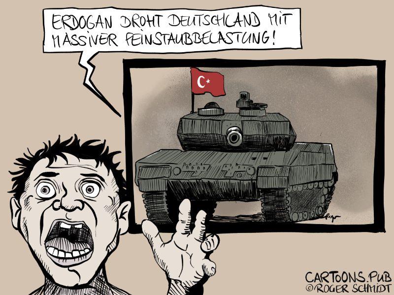Karikatur, Cartoon: Feinstaubbelastung durch Militäreinsatz in Nord-Syrien © Roger Schmidt