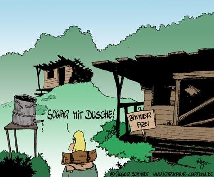 Karikatur, Cartoon: Ferienwohnung Zimmer frei, © Roger Schmidt