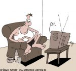Karikatur, Cartoon: Fernseh-Meditation, © Roger Schmidt