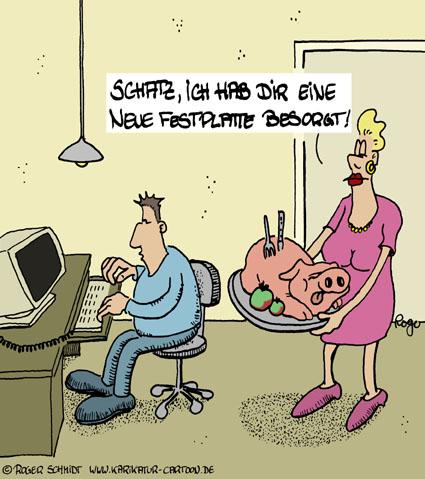 Karikatur, Cartoon: Festplatte, © Roger Schmidt