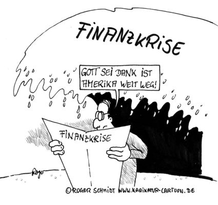 Karikatur, Cartoon: Finanzkrise Amerika, © Roger Schmidt
