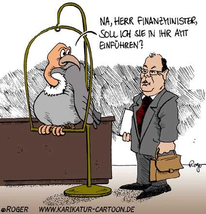 Karikatur, Cartoon: Finanzminister, © Roger Schmidt