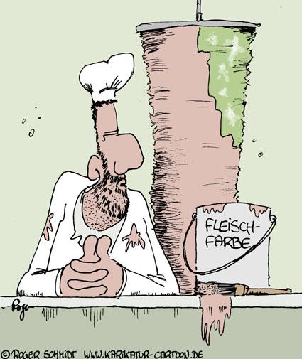 Karikatur, Cartoon: Fleischfarbe, © Roger Schmidt
