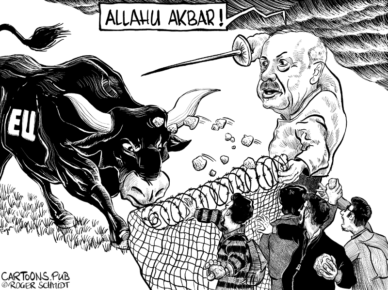 Karikatur, Cartoon: Flüchtlinge stürmen EU-Aussengrenzen © Roger Schmidt