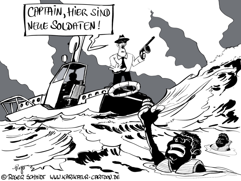 Karikatur, Cartoon: Flüchtlinge, Mafia und das blutige Mittelmeer, © Roger Schmidt