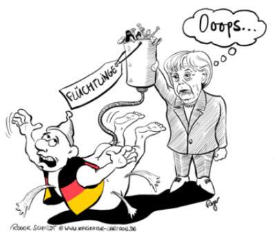 Karikatur, Cartoon: Merkel verpasst Deutschen einen Einlauf, © Roger Schmidt