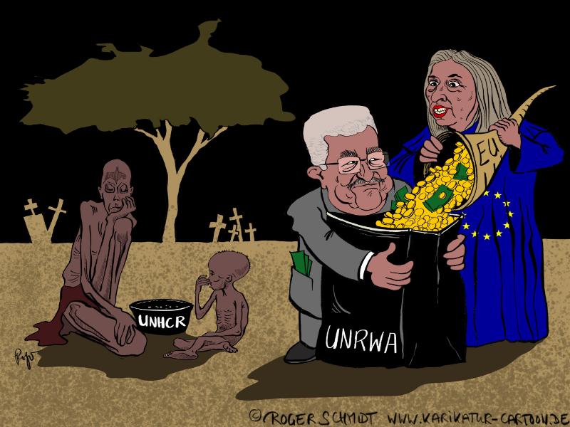 Karikatur, Cartoon: UNO-Flüchtlingshilfswerk UNHCR und UNRWA, © Roger Schmidt