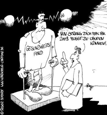 Karikatur, Cartoon: Frankenstein, © Roger Schmidt