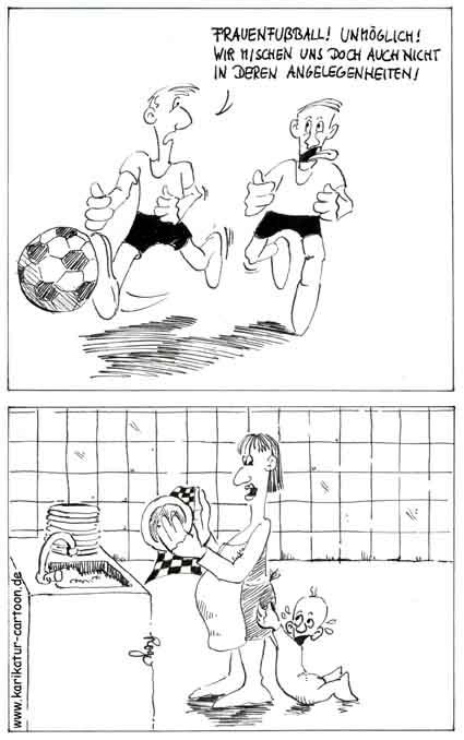 Karikatur, Cartoon: Frauenfußball, © Roger Schmidt