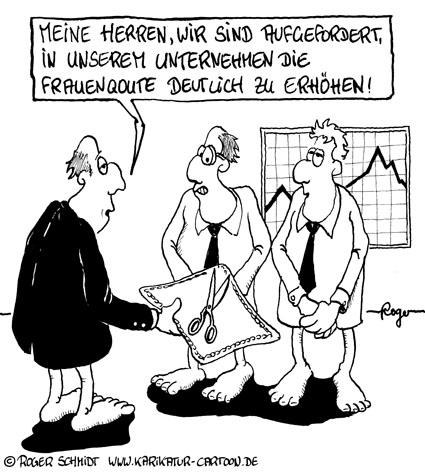 Karikatur, Cartoon: Frauenquote, © Roger Schmidt