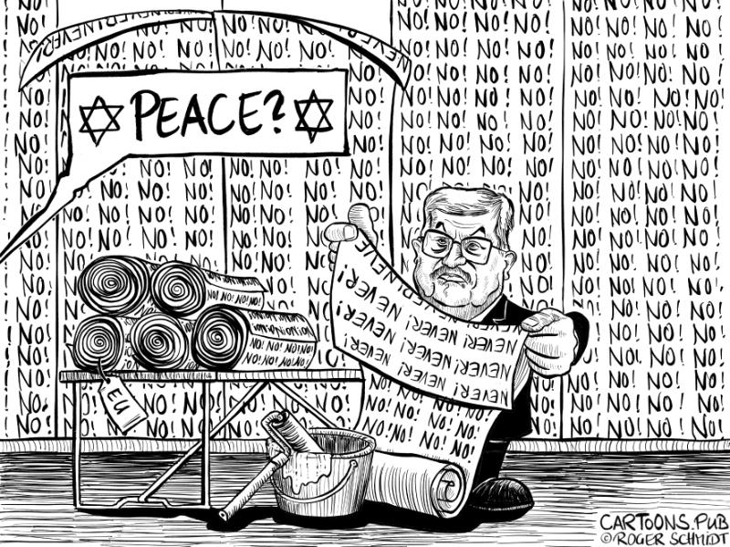 Karikatur, Cartoon: US-Friedensplan von Abbas abgelehnt © Roger Schmidt