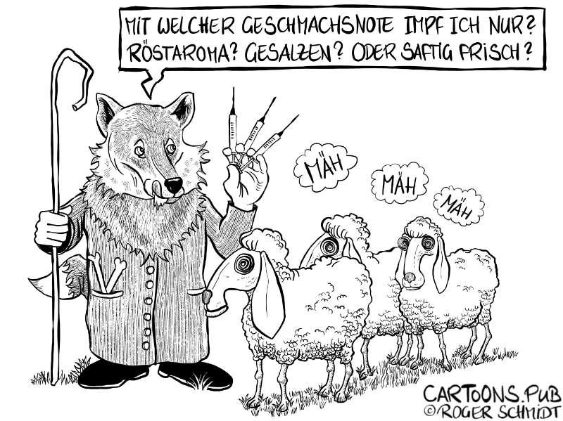 Karikatur, Cartoon: Frisch geimpft © Roger Schmidt