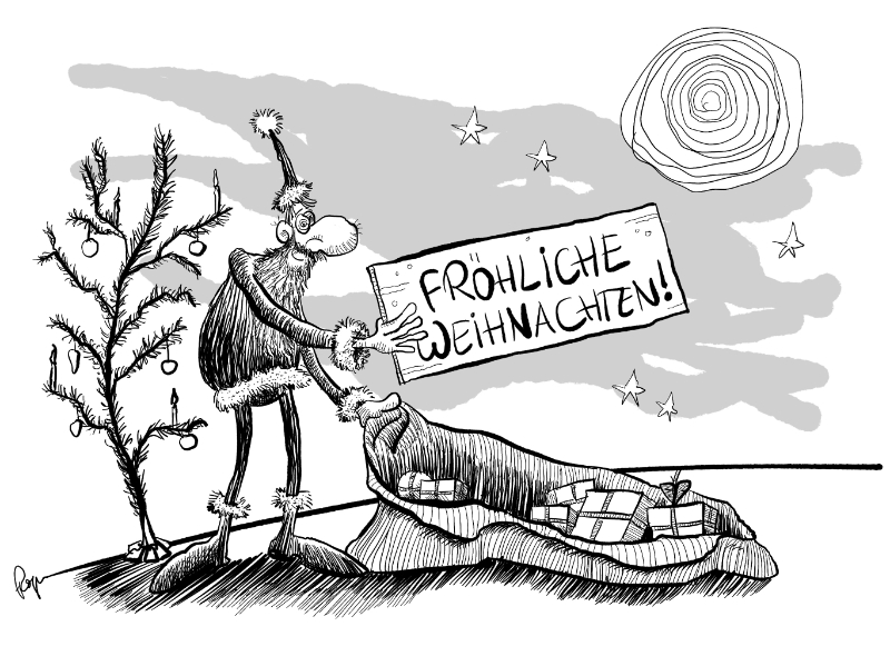 Karikatur, Cartoon: Fröhliche Weihnachten 2019 © Roger Schmidt