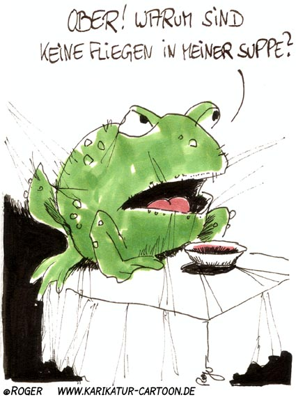 Karikatur, Cartoon: Frosch, © Roger Schmidt