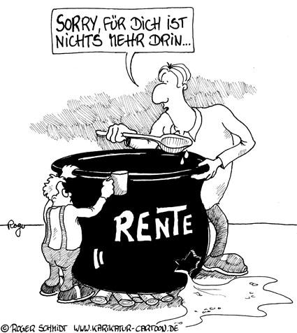 Karikatur, Cartoon: Frühverrentung stoppt Arbeitslosigkeit, © Roger Schmidt