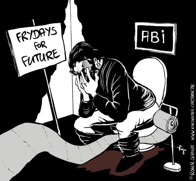 Karikatur, Cartoon: Leichteres Abi für Frydays-for-future, © Roger Schmidt