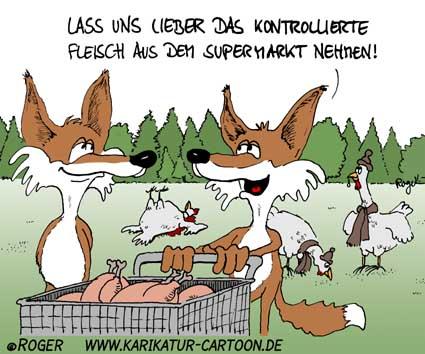 Karikatur, Cartoon: Fuchs, © Roger Schmidt