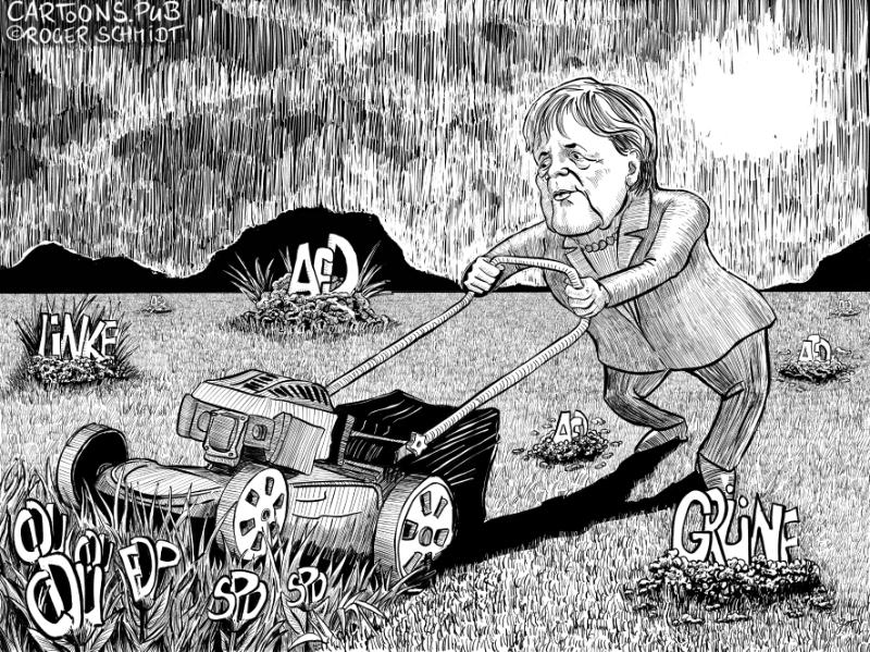 Karikatur, Cartoon: Führungsstärke Merkel © Roger Schmidt