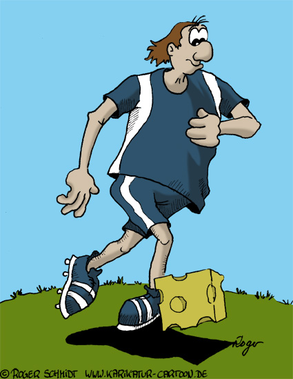 Karikatur, Cartoon: Fußball und Käse, © Roger Schmidt