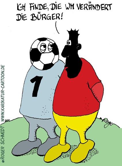 Karikatur, Cartoon: Fußball Weltmeisterschaft, © Roger Schmidt
