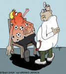 Karikatur, Cartoon: Fussballfieber, © Roger Schmidt