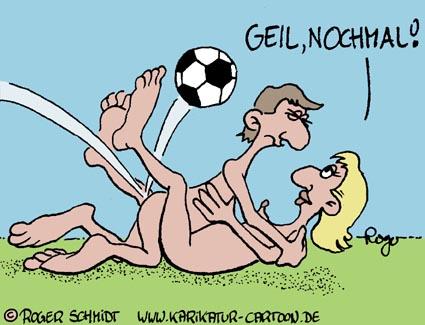 Karikatur, Cartoon: Fußballtor, © Roger Schmidt