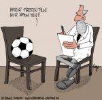 Karikatur, Cartoon: Fußballtraining, © Roger Schmidt
