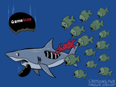 Karikatur, Cartoon: Gamestop für Hedgefonds © Roger Schmidt