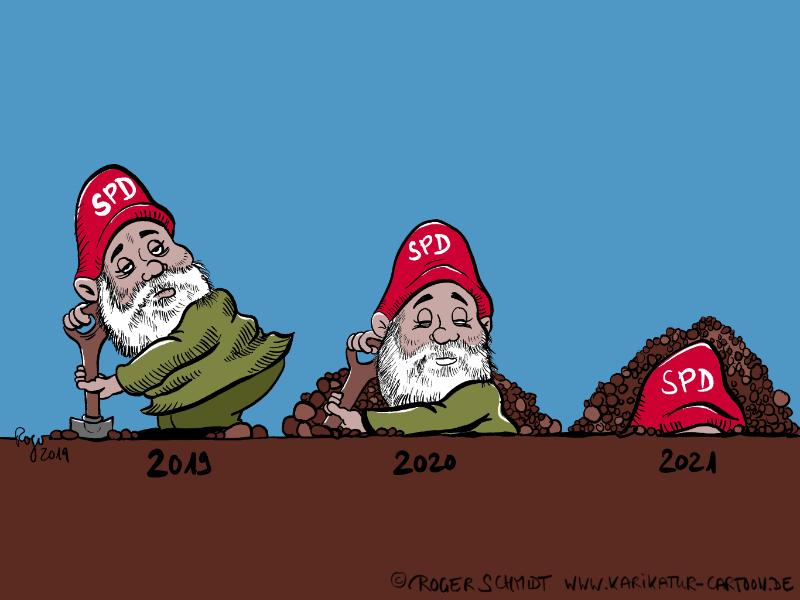 Karikatur, Cartoon: Gartenzwerg SPD, © Roger Schmidt