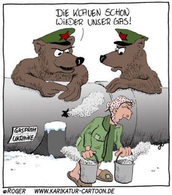 Karikatur, Cartoon: Gas Streit, © Roger Schmidt