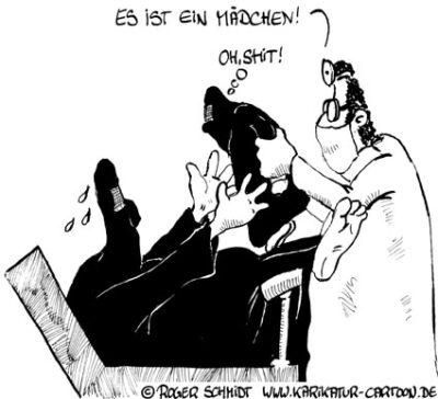 Karikatur, Cartoon: Die Gnade des Geburtsortes, © Roger Schmidt