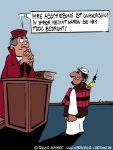 Karikatur, Cartoon: Gefährder darf nicht in seine Heimat, © Roger Schmidt