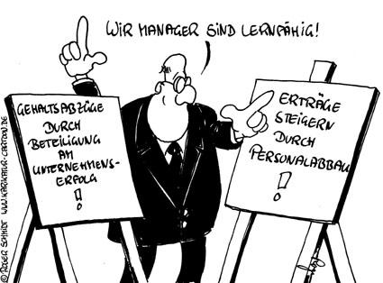 Karikatur, Cartoon: Gehaltsboni versus Gehaltsbonus, © Roger Schmidt