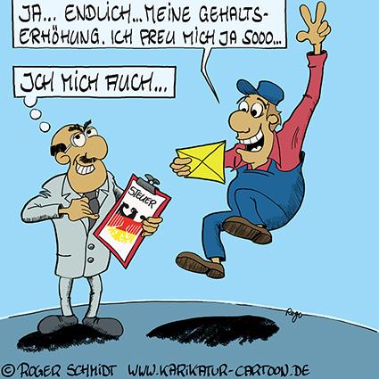 Karikatur, Cartoon: Gehaltserhöhung mit Steuer, © Roger Schmidt