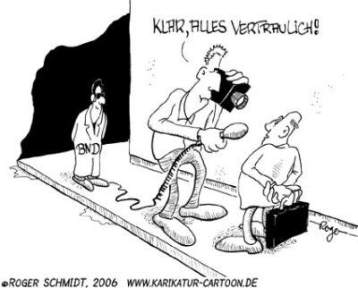 Karikatur, Cartoon: Geheimdienst, © Roger Schmidt
