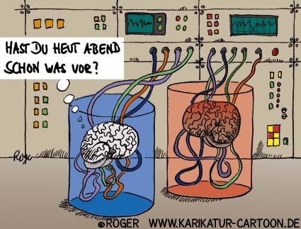 Karikatur, Cartoon: Gehirn, © Roger Schmidt