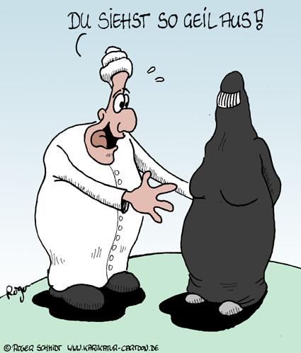 Karikatur, Cartoon: Geile Burkha, © Roger Schmidt