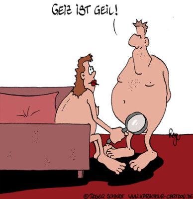 Karikatur, Cartoon: Geiz ist geil!, © Roger Schmidt