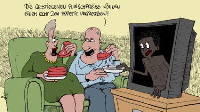 Karikatur, Cartoon: Gestiegene Fleischpreise, © Roger Schmidt