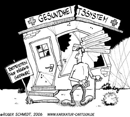 Karikatur, Cartoon: Gesundheitssystem, © Roger Schmidt
