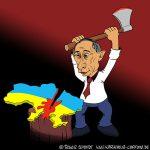 Karikatur, Cartoon: Geteilte Ukraine, © Roger Schmidt
