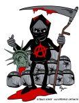 Karikatur, Cartoon: Gewalt macht frei!, © Roger Schmidt