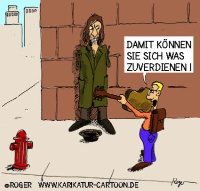 Karikatur, Cartoon: Bettler Nebenverdienst, © Roger Schmidt