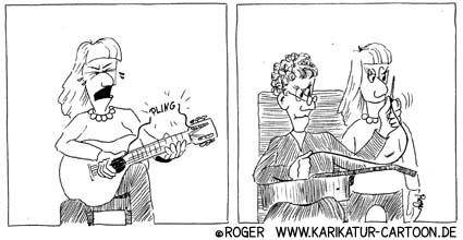Karikatur, Cartoon: Nähdienst mit Katzendarm, © Roger Schmidt