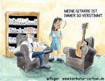 Karikatur, Cartoon: Gitarre beim Psychiater, © Roger Schmidt