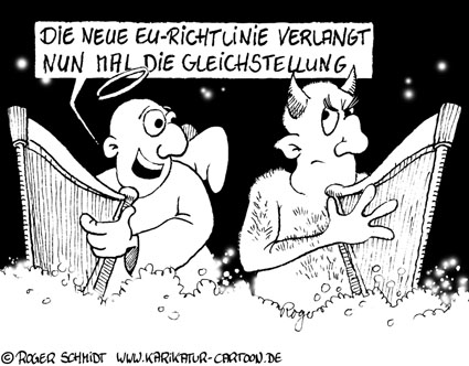 Karikatur, Cartoon: Gleichstellung, © Roger Schmidt