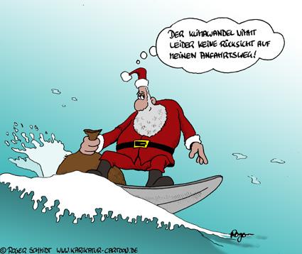 Karikatur, Cartoon: Globale Erwärmung zu Weihnachten, © Roger Schmidt