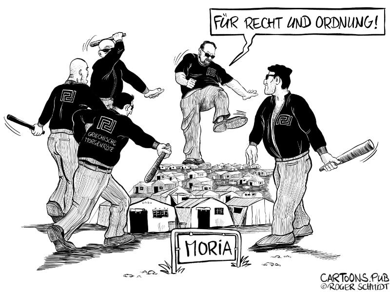 Karikatur, Cartoon: Goldene Morgenröte gegen Lager Moria auf Lesbos © Roger Schmidt