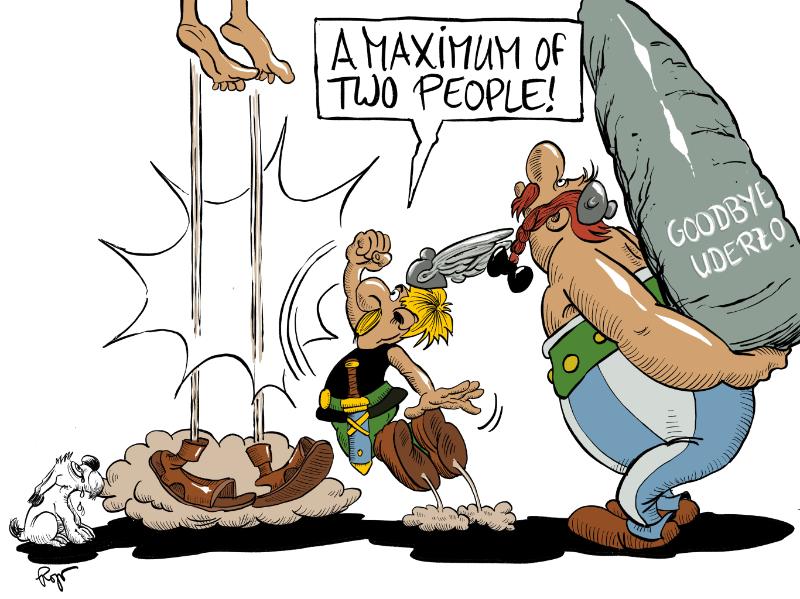 Karikatur, Cartoon: Goodbye Uderzo - Asterix und Obelix © Roger Schmidt